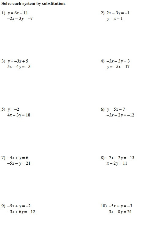 Systems Of Equations Practice Worksheet Warrayat Instructional Unit