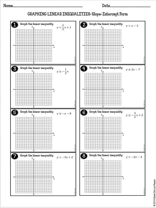 Systems Of Inequalities Worksheet Graphing Linear Inequalities Practice