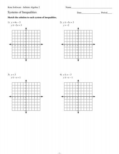Systems Of Inequalities Worksheet Systems Of Inequalities Kuta software