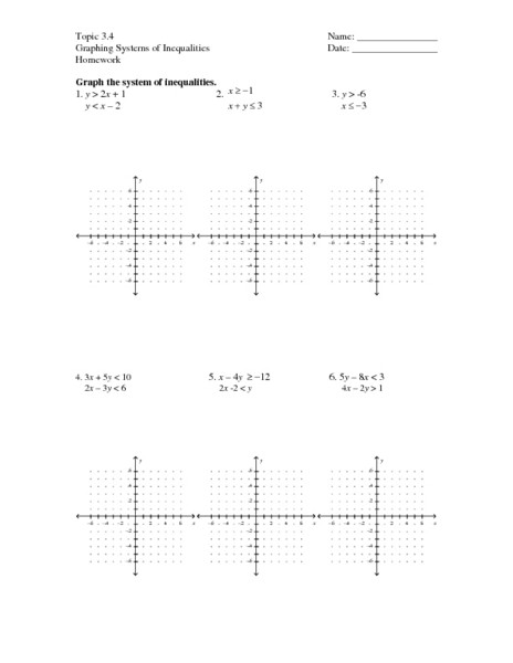 Systems Of Inequalities Worksheet topic 3 4 Graphing Systems Of Inequalities Worksheet for