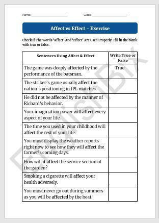 The Carbon Cycle Worksheet Answers Affect Vs Effect Worksheet to Test if You Know their Usage