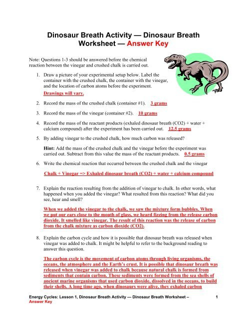 The Carbon Cycle Worksheet Dinosaur Breath Worksheet — Answer Key Teach Engineering