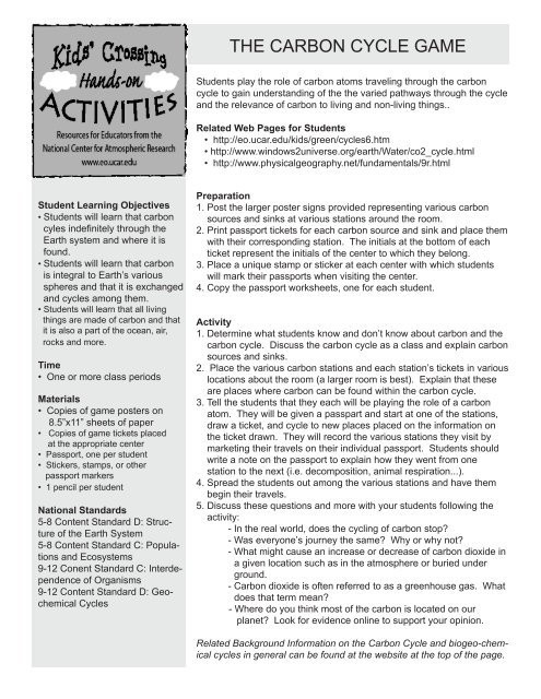 The Carbon Cycle Worksheet the Carbon Cycle Game University Corporation for