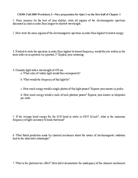 The Electromagnetic Spectrum Worksheet Electromagnetic Spectrum Worksheet for Higher Ed