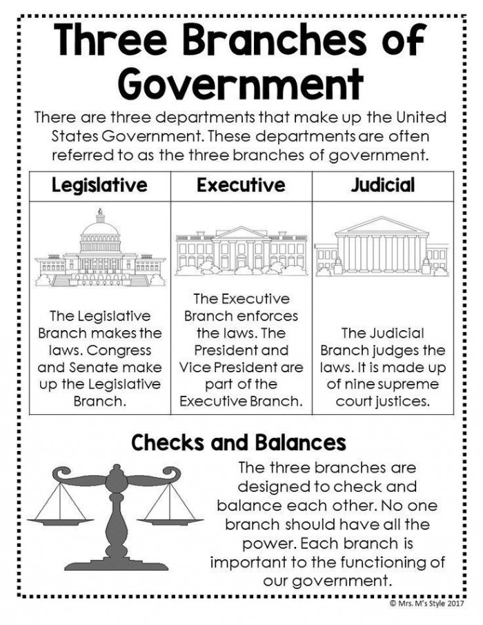 The Executive Branch Worksheet Branches the U S Government Worksheets