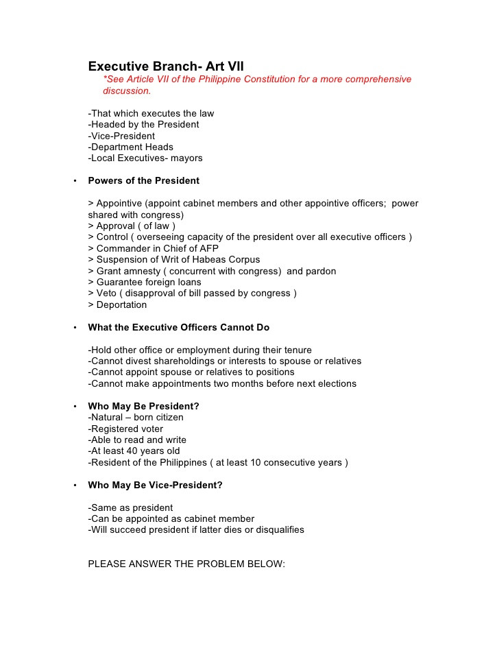 The Executive Branch Worksheet Executive Branch