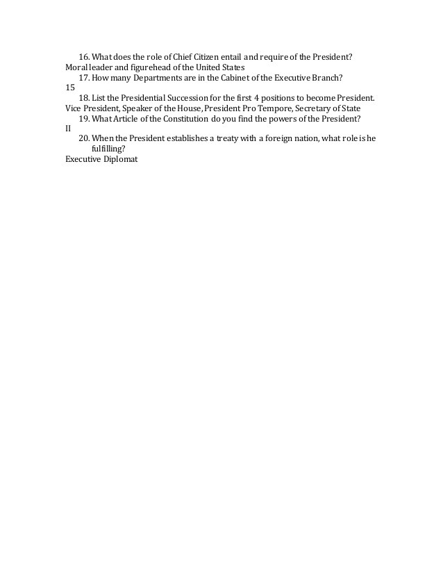 The Executive Branch Worksheet Executive Branch Worksheet