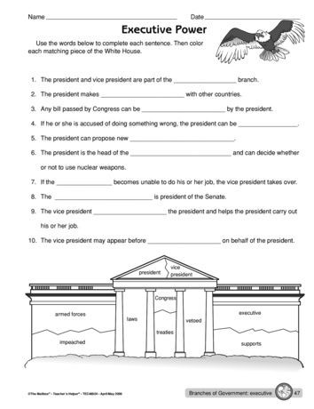 The Executive Branch Worksheet Executive Power Lesson Plans the Mailbox