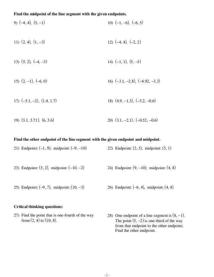 The Midpoint formula Worksheet Answers 26 the Midpoint formula Worksheet Worksheet Resource Plans
