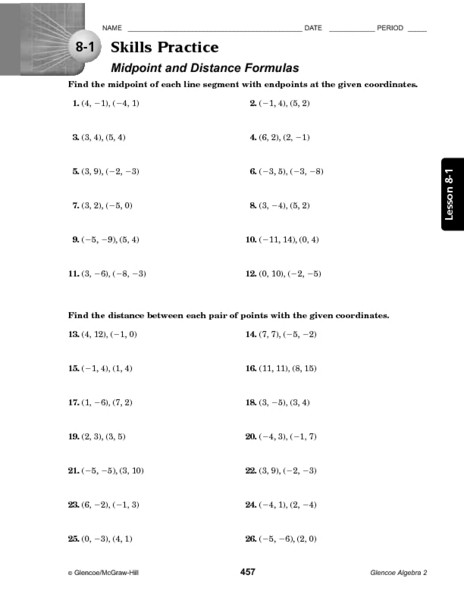 The Midpoint formula Worksheet Answers Finding Midpoint and Distance Worksheets Worksheet