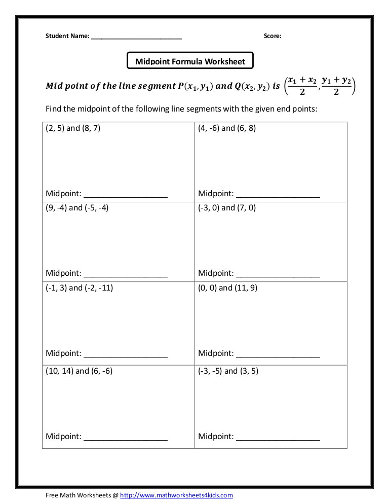 The Midpoint formula Worksheet Answers Midpoint formula