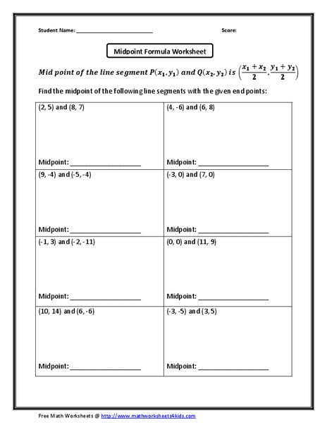 The Midpoint formula Worksheet Answers Midpoint formula Worksheet Worksheet for 10th Grade