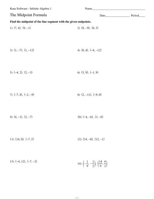 The Midpoint formula Worksheet Answers Using the Midpoint formula Kuta software