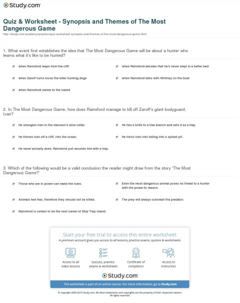 The Most Dangerous Game Worksheet 007 the Most Dangerous Game Essay Quiz Worksheet Synopsis