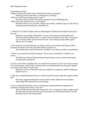 The Most Dangerous Game Worksheet 020 1 the Most Dangerous Game Essay thatsnotus