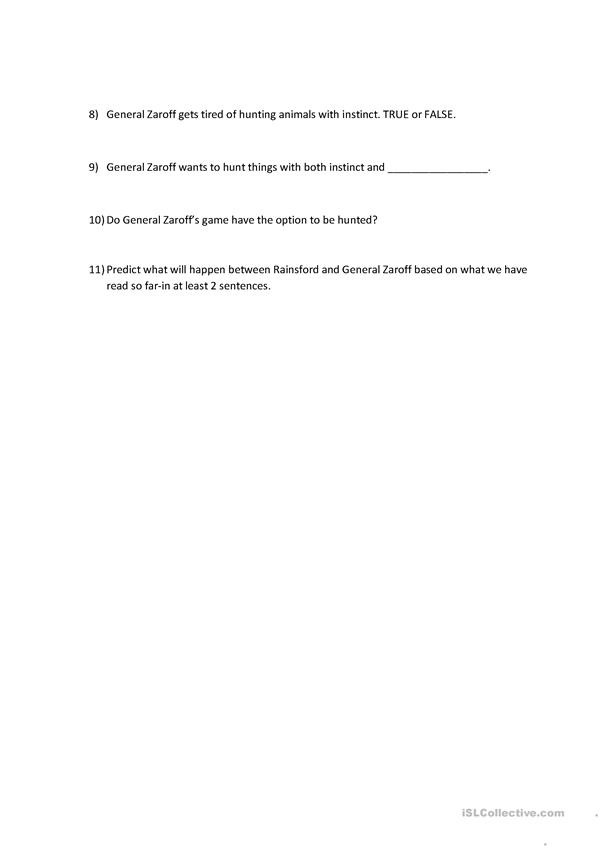 The Most Dangerous Game Worksheet Most Dangerous Game English Esl Worksheets for Distance