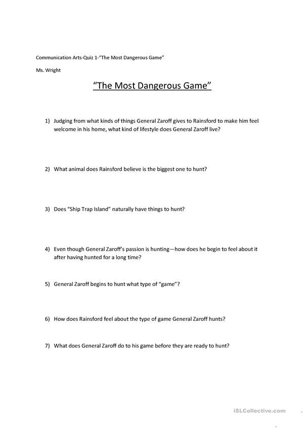 most dangerous game activities promoting classroom dynamics group form 1