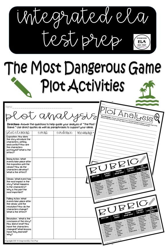 The Most Dangerous Game Worksheet the Most Dangerous Game Activities Plot Elements Worksheet
