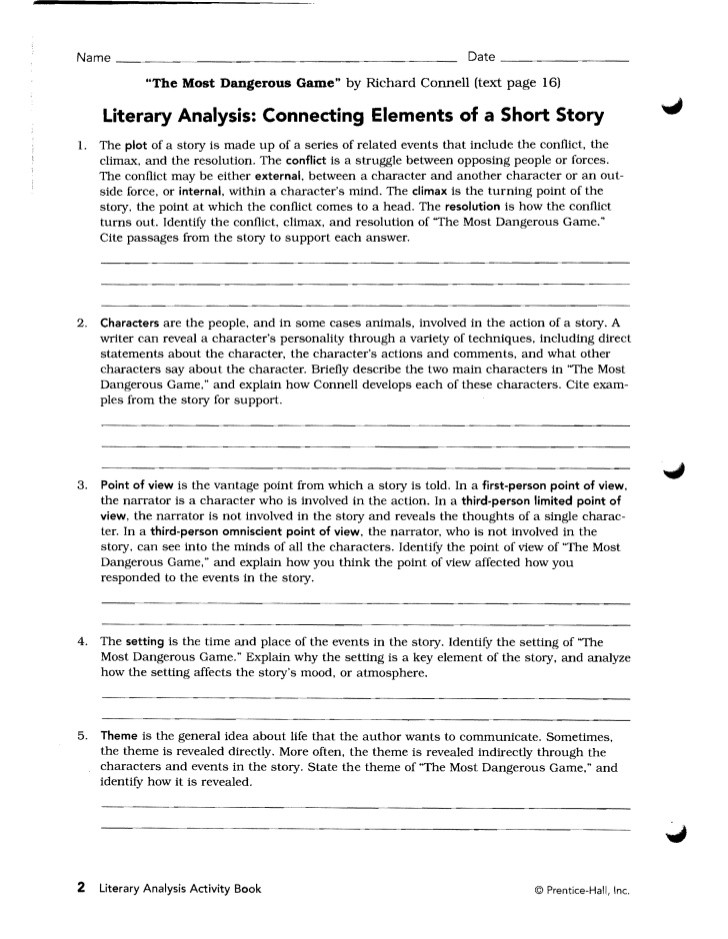 The Most Dangerous Game Worksheet theme the Most Dangerous Game Essay