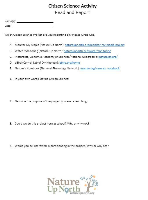 The Nature Of Science Worksheet Citizen Science Introduction Worksheet