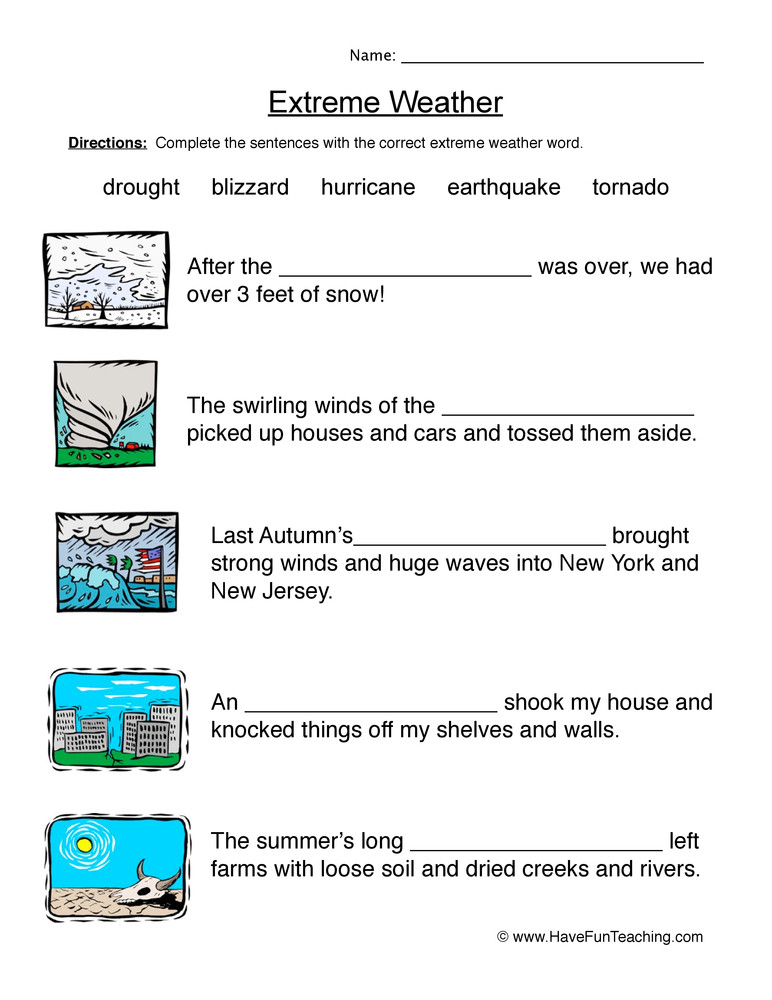 The Nature Of Science Worksheet Natural Disasters Fill In the Blanks Worksheet