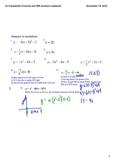 The Quadratic formula Worksheet Ch 5 Quadratic formula and Ws Answerstebook
