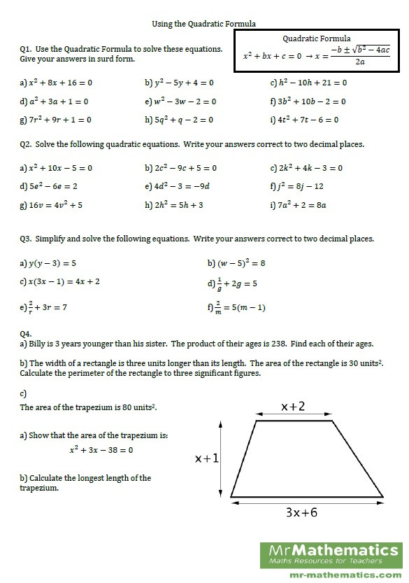The Quadratic formula Worksheet Quadratic formula