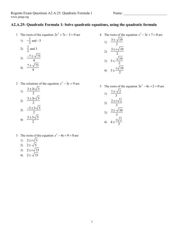 The Quadratic formula Worksheet Regents Exam Questions Quadratic formula Worksheet for 9th
