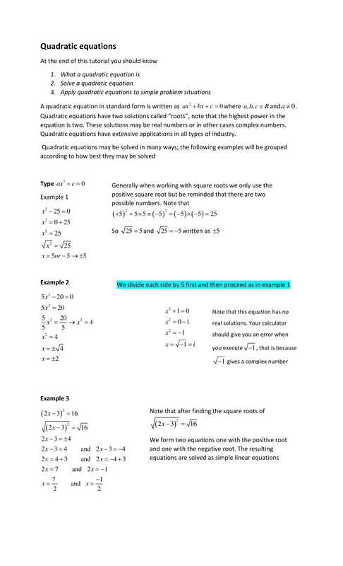 The Quadratic formula Worksheet solving Quadratic Equations Csec Math Tutor