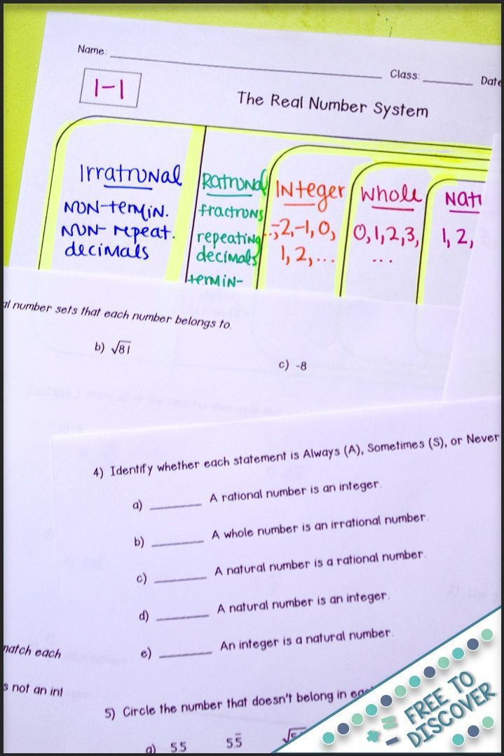The Real Number System Worksheet Real Number System Notes and Practice Differentiated