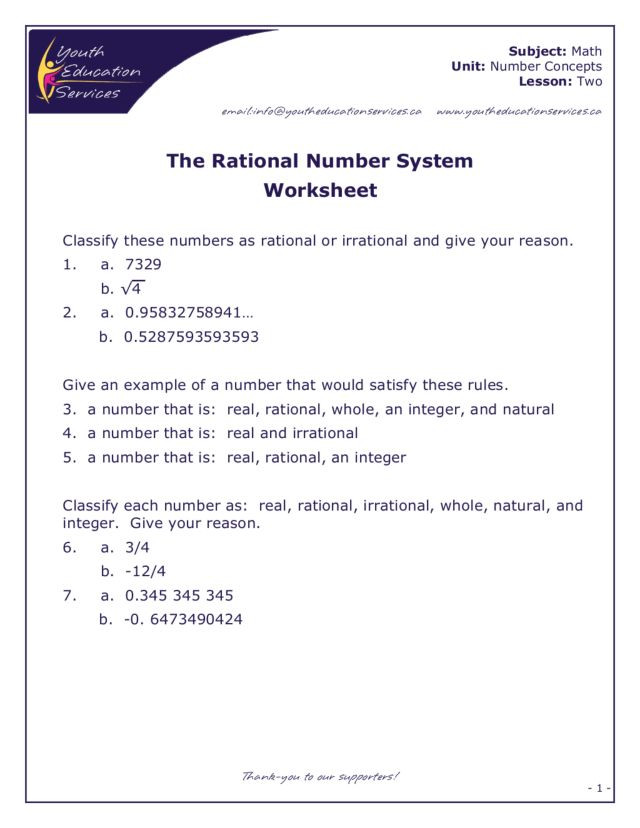 The Real Number System Worksheet the Rational Number System Worksheet for 7th 8th Grade