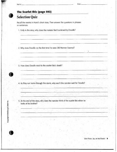 The Scarlet Ibis Worksheet Answers the Scarlet Ibis Packet