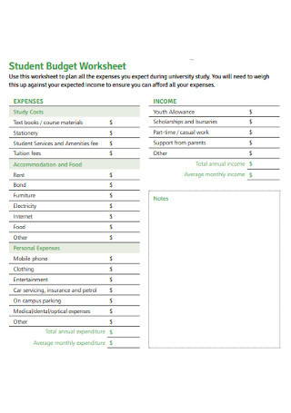 The Student Budget Worksheet Answers 46 Sample Bud Templates & Bud Worksheets In Pdf