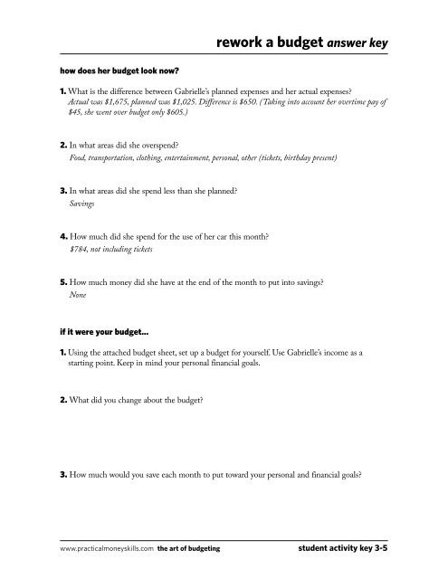 The Student Budget Worksheet Answers Rework A Bud Answer Key Fccla