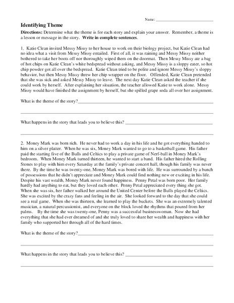 Theme Worksheet Middle School Identifying theme Worksheet for 7th 8th Grade