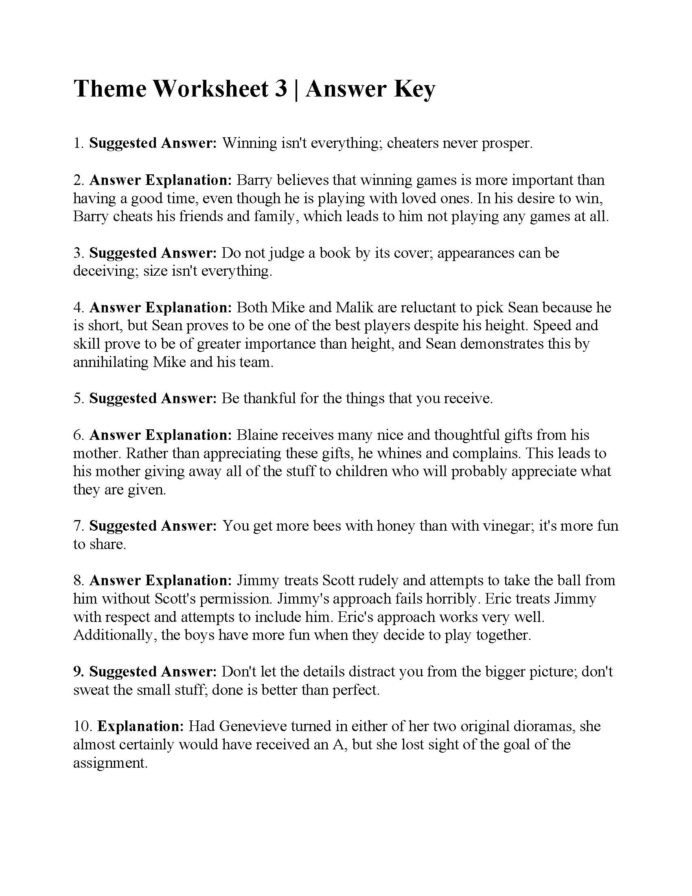 Theme Worksheet Middle School theme Lessons Tes Teach Identifying Worksheets English