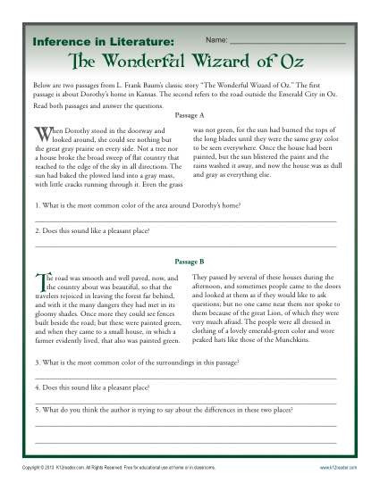 Theme Worksheets for Middle School Inference In Literature the Wizard Of Oz