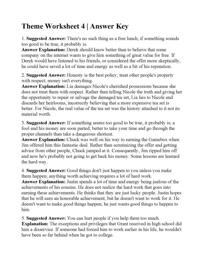 Theme Worksheets for Middle School Monthly Archives May 2020 Page 23 Ereading Worksheets theme