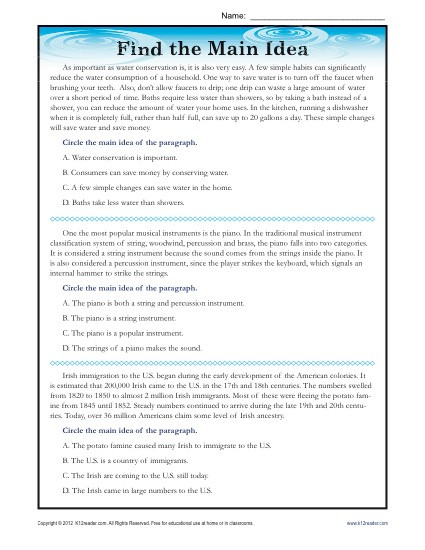 Theme Worksheets High School High School Main Idea Reading Passage Worksheet