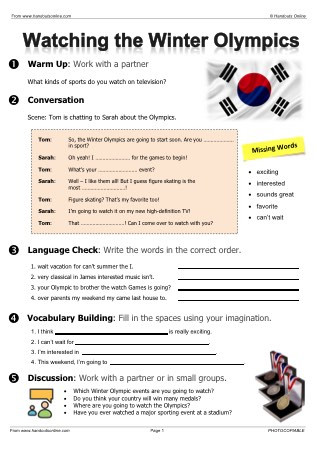 Theme Worksheets High School Olympic Games Worksheets for Esl Efl Esol Teachers From