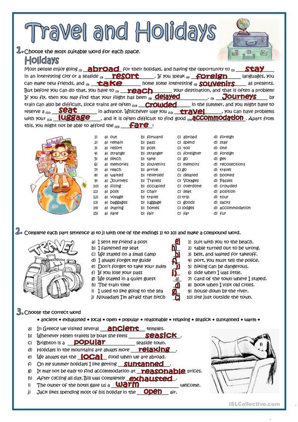 Theme Worksheets High School Travel and Holidays English Esl Worksheets for Distance