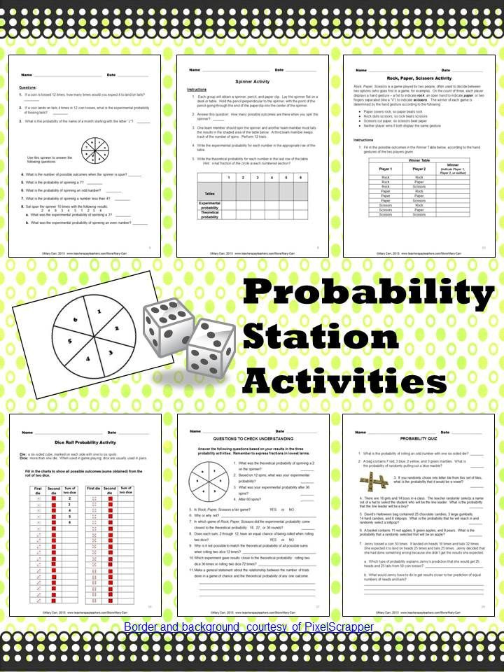 Theoretical and Experimental Probability Worksheet Probability Station Activities