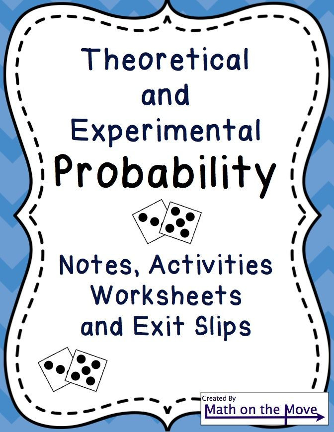 Theoretical and Experimental Probability Worksheet Probability theoretical Experimental Notes Activities