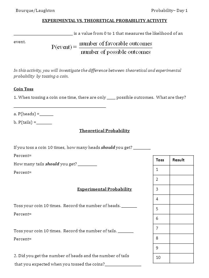 Theoretical and Experimental Probability Worksheet Seventh Grade Probability Lessons Tes Teach