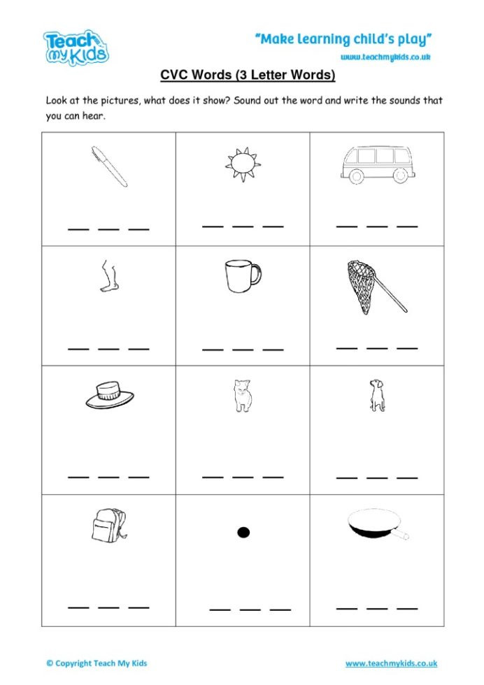 Three Letter Word Worksheets Cvc Words Letter Tmk Education Worksheets Pdf Two Digit