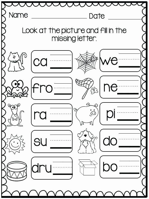 Three Letter Word Worksheets Missing Letters Worksheets for Kindergarten Three Letter