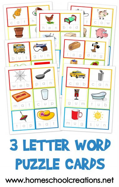 Three Letter Word Worksheets Three Letter Word Cards Free Printable