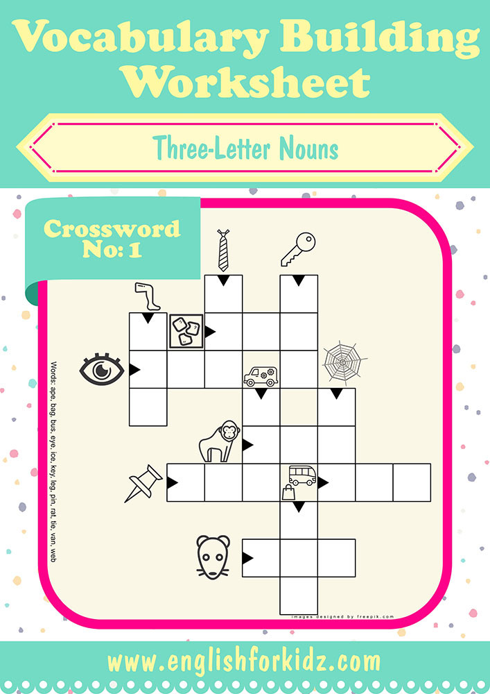 Three Letter Word Worksheets Vocabulary Building Worksheets Three Letter Noun Crosswords