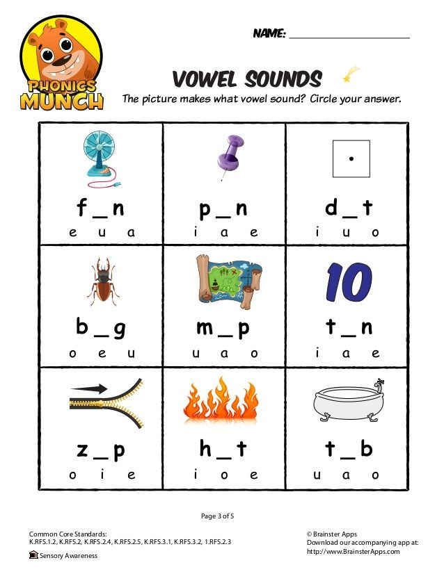 Three Letter Word Worksheets Vowel sounds Phonics Worksheet