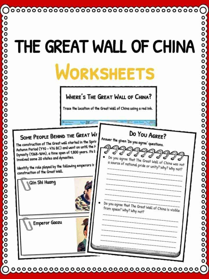 Timeline Worksheets for Middle School the Great Wall China Facts Worksheets & Timeline for Kids